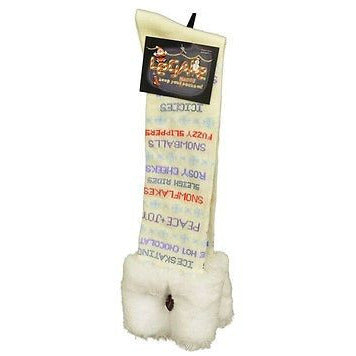 Le Gale Christmas Messages Knee High Socks Womens Hosiery Cream Size 9-11