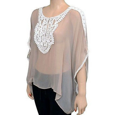 Lost April Sheer Elegant S/S Womens Shirts Taupe Size M ~