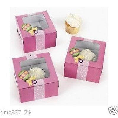 12 Baby Shower Party Favor Treat Individual Cupcake Boxes Pink Rattle Girl