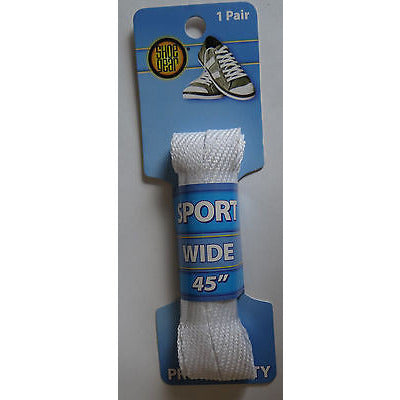 "Shoe Gear White Pro-Quality Sport Wide Laces, 45"" -114 Cm For 6/7 Holes"