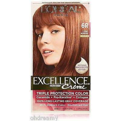 L'Oreal Excellence Nondrip Creme Triple Protection Color 6R Warmer Light Auburn - Oh!Dreamy™ Online Store