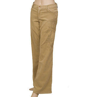 !It Jeans Embroidery Corduroy Womens Pants Honey Khaki Size 31