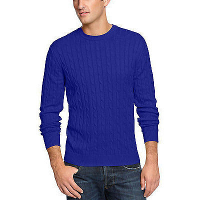Club Room Mens Sweater, Classic Cable Cr  Cerulean Xxl