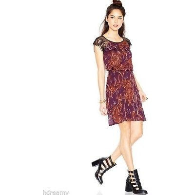 Made Fashion Week Impulse Cap-Sleeve Lace-Inset Printed Chiffon Dress, Purple, M - Oh!Dreamy™ Online Store  - 1