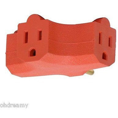 Globe Electric 46874 T Shape 3 Outlet Heavy Duty Tap, Orange