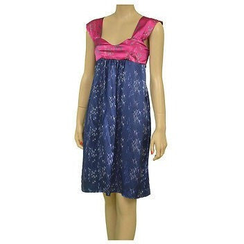 Doie Designs 1067 Silk Baby Doll Bird Print Womens Dresses Blue & Pink
