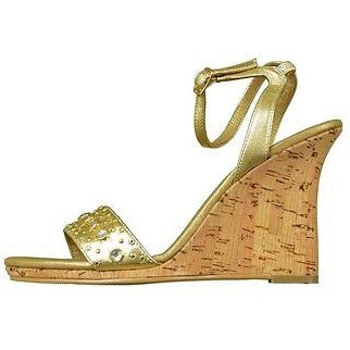 Yellowbox Britney High Heel Wedge Sandal Womens Shoes Gold Size 7.5