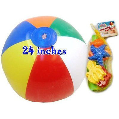 "Jumbo Inflatable Beach Multi Color Ball 24"" And Sand Mold And Shovel Set 5 Piec"
