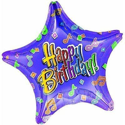 "Birthday Tunes Metallic Bluncheon Star 2Sd 19"" - Oh!Dreamy™ Online Store"