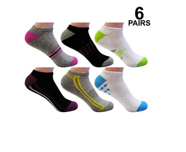 Bright Star Women's 6 Pack Performance Arch Stripe No Show Socks