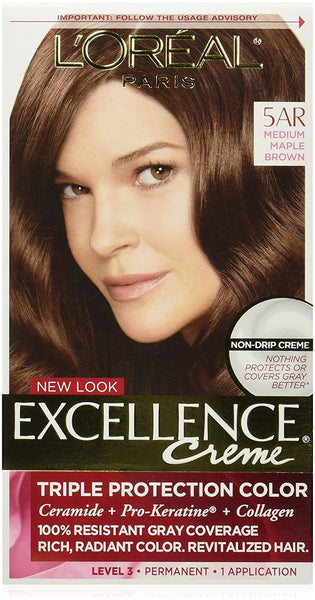 L'Oreal Paris Excellence Creme, 5AR Medium Maple Brown, (Packaging May Vary)