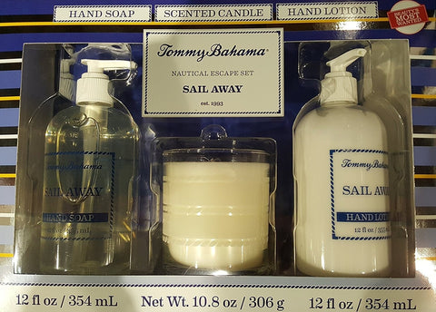 Tommy Bahama Sail Away Nautical Escape Set Hand Soap 12oz, Hand Lotion 12oz, ...
