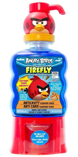 Firefly Angry Birds Anti-Cavity Fun Pump Fluoride Rinse,Bubble gum flavor, 16 Fluid Ounce