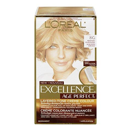 L'Oreal Paris ExcellenceAge Perfect Layered Tone Flattering Color, 8G Medium Soft Golden Blonde