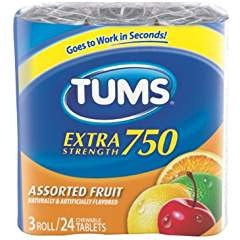 Tums E-X Asst 3-Pk Size 24ct Tums Extra Strength Assorted 3-Pk Fruit Antacid With Calcium 24ct