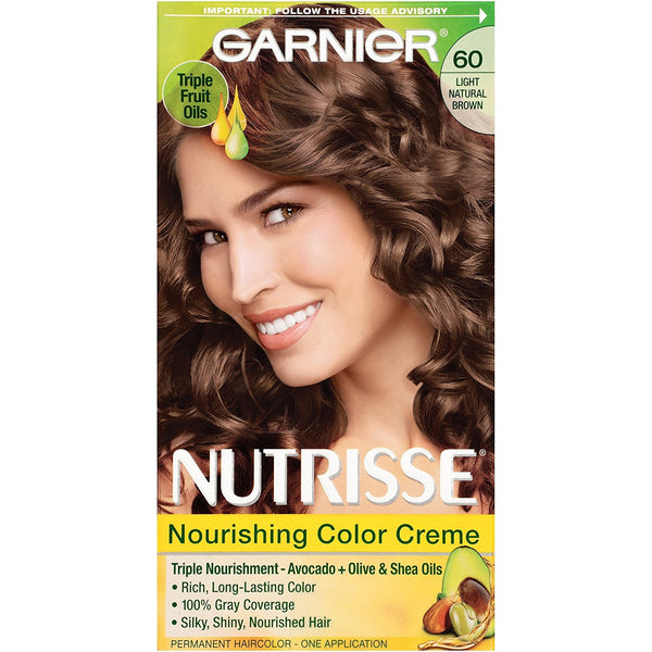 Garnier Nutrisse Nourishing Hair Color Creme, 60 Light Natural Brown (Acorn)