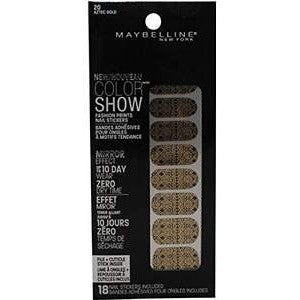 2 Pack- Maybelline Color Show Fashion Prints Nail Stickers #20 Aztec Gold