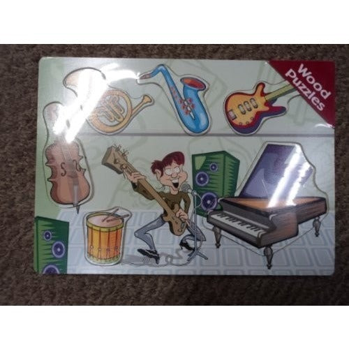 "Children's Educational Wood Puzzle Ages 3 & Up ""Band Instruments"""