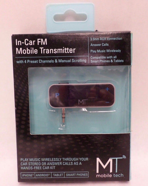 FM Mobile Transmitter 3.5mm Aux Connection Answer Calls Play Music Brand New