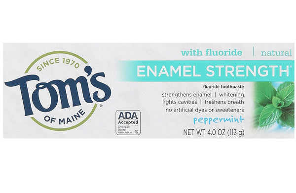 Tom's of Maine Enamel Strength Natural Toothpaste, Peppermint, 4 Ounce