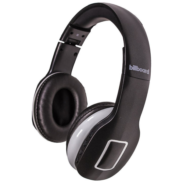 Billboard Bluetooth Wireless Folding Headphones With Enhanced Bass, Controls, and Microphone Black