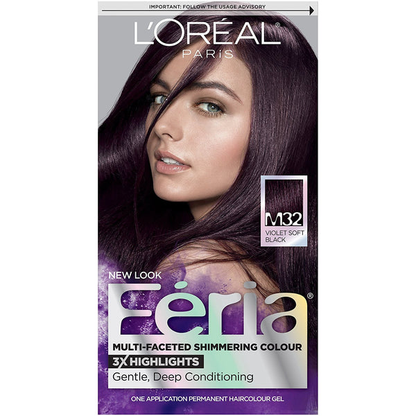 L'Oreal Paris Feria Multi-Faceted Shimmering Color, M32 Midnight Star (Violet Soft Black)
