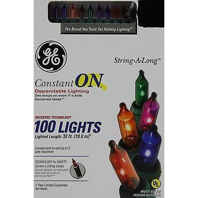 Ge String A Long Constant On 100 Multi Color Bulbs Lights Green Wire