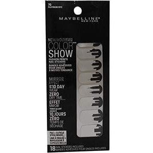 3 Pack- Maybelline Color Show Fashion Prints Nail Stickers #70 Platimun Nyc
