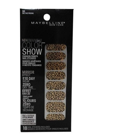 3 Pack- Maybelline Color Show Fashion Prints Nail Stickers #30 On The Prowl