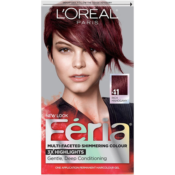 L'Oreal Paris Feria Multi-Faceted Shimmering Color, 41 Crushed Garnet (Rich Mahogany)