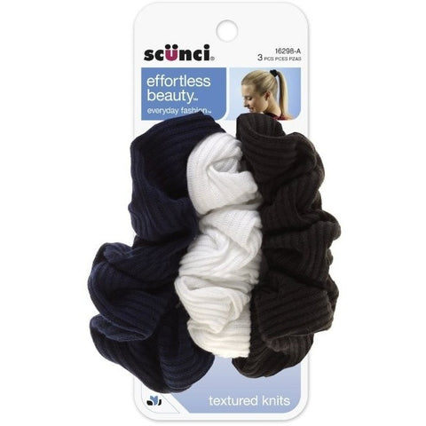 Scunci Effortless Beauty 2 X 2 Basic Ribbed Twisters, 3 Count, Colors May Vary