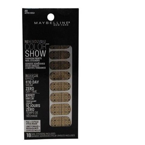 3 Pack- Maybelline Color Show Fashion Prints Nail Stickers #20 Aztec Gold