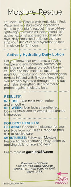 Garnier Skin Active Moisture Rescue Sunscreen Fragrance Free Hydrating Daily Lotion, SPF 15, 4 fl oz