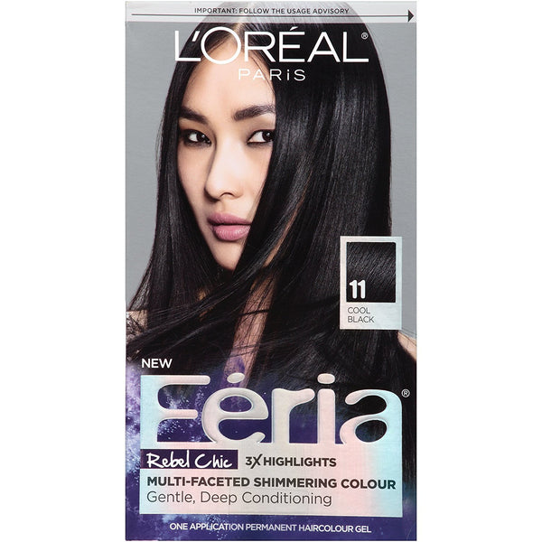 L'Oreal Paris Hair Color Feria Multi-Faceted Shimmering Color, 11 Black Fixation (Cool Black)