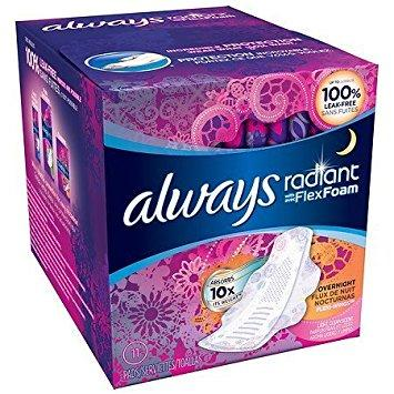 Always Radiant Infinity Pads Regular Flow with Flexi-Wings Light Clean Scent - 11 Ct