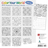 Color Your World Meditative Coloring with Florals 2017 Square (Multilingual Edition)