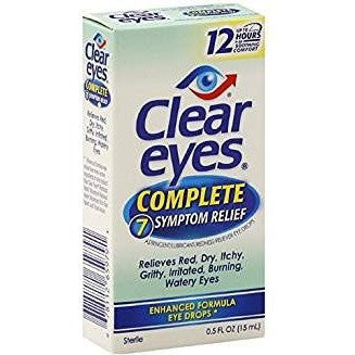 Clear Eyes Complete 7 Symptom Relief Eye Drops-0.5 oz