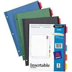 Avery  Insertable Dividers, 5-Tab Set, Assorted Colors, 1 Set (81304)