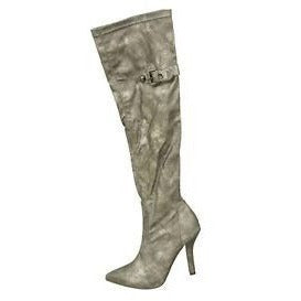 1To3 V5109 High Heel Over Knee Womens Boots Silver Size 9