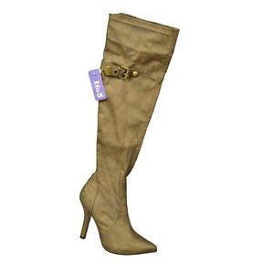 1To3 V5109 High Heel Over Knee Womens Boots Bronze Size 10
