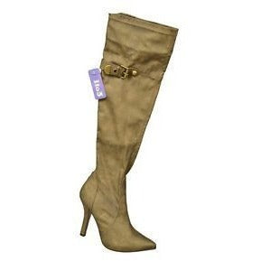 1To3 V5109 High Heel Over Knee Womens Boots Bronze Size 8