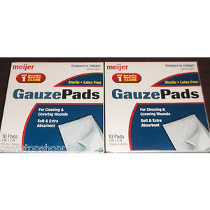 "10 Meijer Gauze Pads 3""X3"" Sterile Latex Free First Aid Emergency 1 Box"