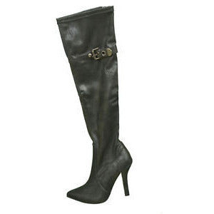 1To3 V5108 High Heel Knee High Womens Boots Black Size 8