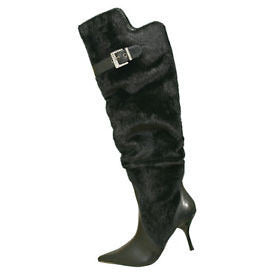 1To3 V5129 High Heel Faux Fur Womens Boots Black Size 9