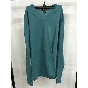 Alfani Blue V-Neck Casual Top Sweater, Size Large