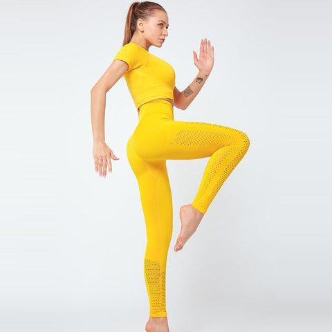 shopsharpe.com 2 Pcs Yoga Sport Suit Hollow Out Short Sleeve Fitness Crop Top+Seamless Leggings Tights Women Sportswear Gym Set Workout Clothes