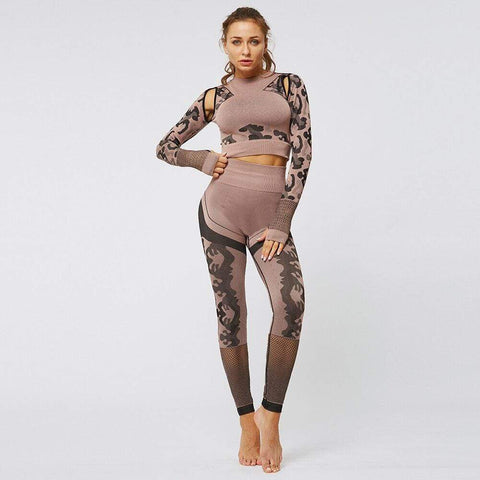 shopsharpe.com 2PCS Women Gym Crop Shirt Leggings Camouflage Print Thumb Hole Hollow Out Breathable Seamless Bodycon Fitness Set