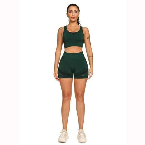 shopsharpe.com Dark Green / S / China Arena Seamless Yoga Short & Top Set