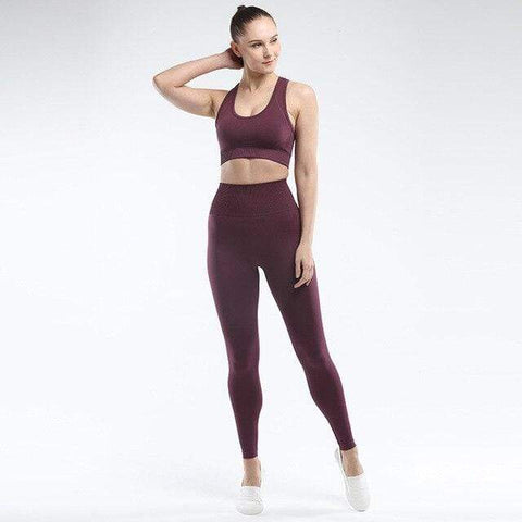 shopsharpe.com Deep Purple / S SVOKOR Seamless Women set Workout Fitness Clothes For Women High Waist Push Up Leggings Bra Gym Pants Elasticity Running