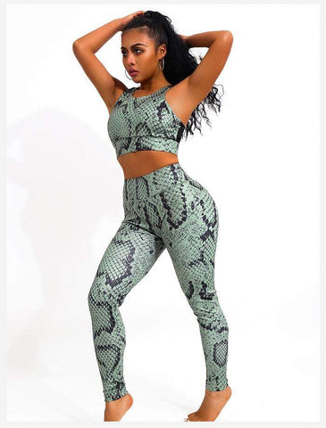 shopsharpe.com IWUPARTY 2 Piece Snake Print Yoga Set Women Crisscross Back Sportwear Gym Clothing Fitness Leggings Workout Sports Suit Female